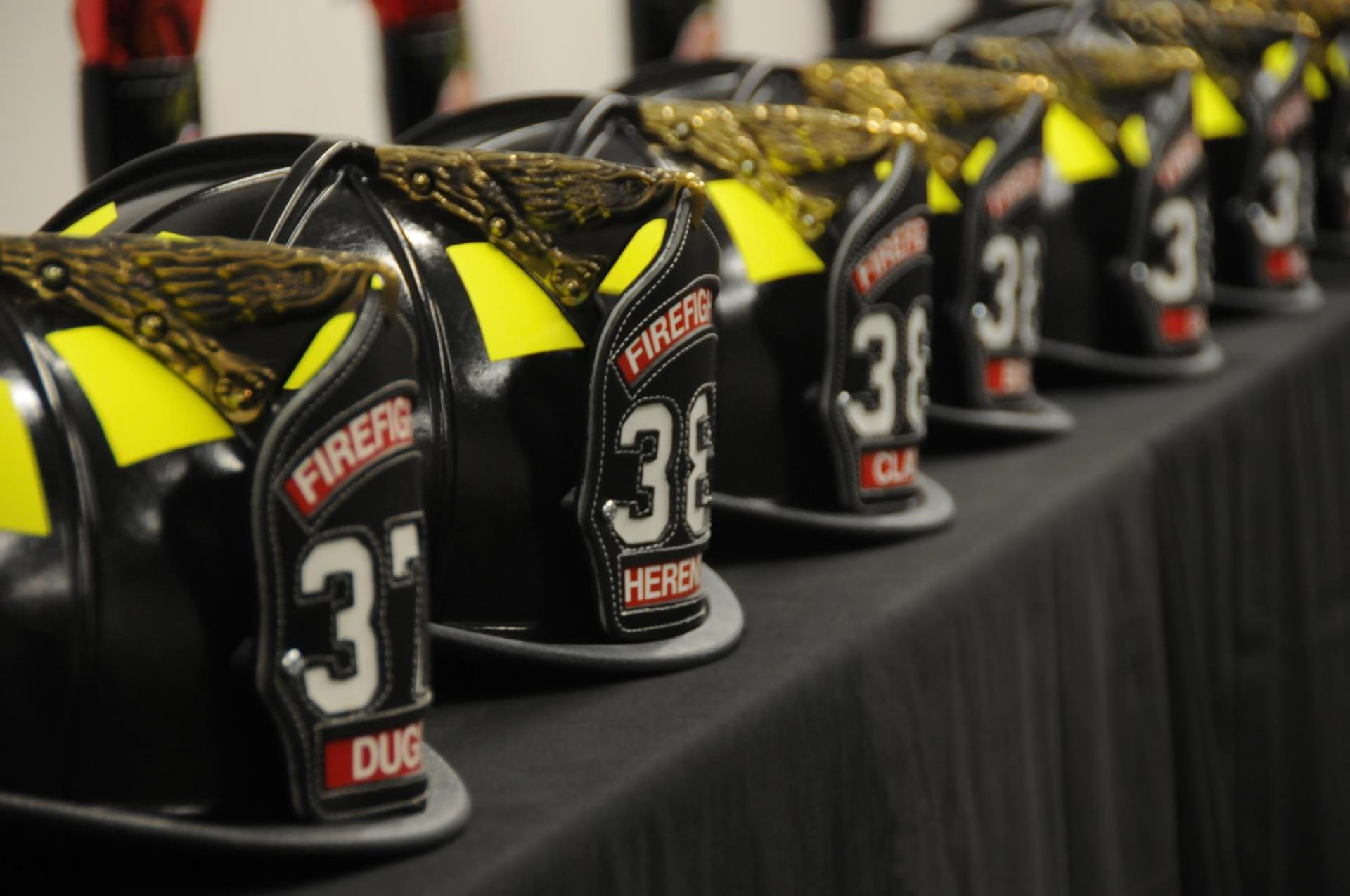 Helmets lined up