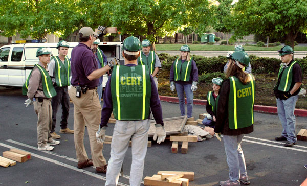 CERT group practicing search and rescue